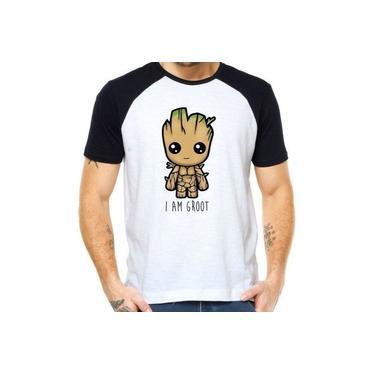 Camiseta Raglan Eu Sou Groot Guardiões Da Galáxia