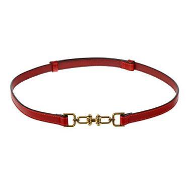 SOIMISS Mulheres Fivela Cinto para Calças de Brim Calças de Couro De Cintura Elástica Cinto Trecho Cinto Magro para O Vestido de Acessórios (Vermelho)