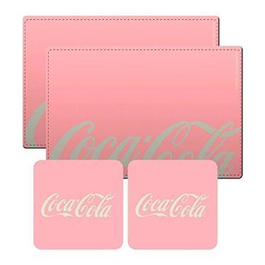 Conjunto 2 Jogos Americanos e 2 Porta-Copos Coca-Cola Contemporary Rosa em Cortiça - Urban - 40x30 cm