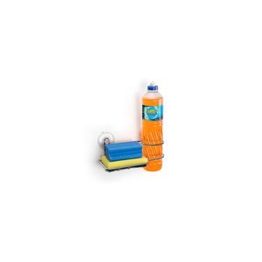 Porta Detergente E Bucha Cromado Com Ventosa Arthi
