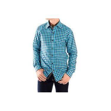 Camisa Zimpool Social Slim Fit Manga Longa Xadrez Azul One Collection f17e65123ee18