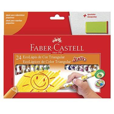 Lápis de Cor, Faber-Castell, Ecolápis Triangular Jumbo + Apontador com Depósito, 12.3024AP, 24 Cores