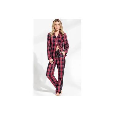 Pijama Feminino Mixte Cardigan Manga Longa com Calça em Flanela Xadrez Vermelho Linha Premium 9685