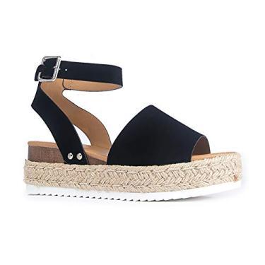 Sandália J. Adams Blair Espadrille – Sandália de palha plataforma bico aberto tira no tornozelo, Black Nubuck, 9