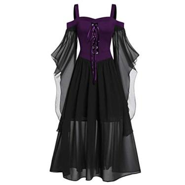 Vestidos góticos para mulheres plus size de renda cruzada camiseta vestido manga borboleta irregular cosplay Chaofanjiancai, 1-purple, Large