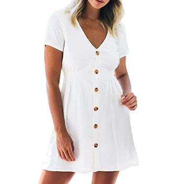 Imagem de maiduoduo01 Vestido casual fashion para mulheres, vestido de manga curta, cintura alta, feminino, decote em V, vestido evasê para o dia a dia, branco G