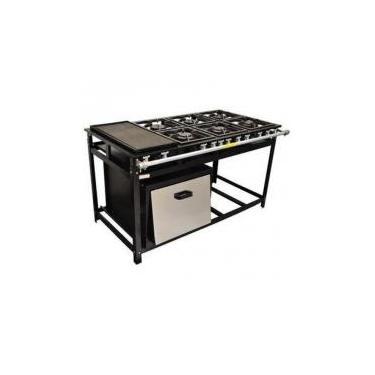 fogão industrial 6 bocas com chapa e forno gastromixx -