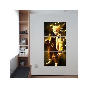 Quadro Naruto Uzumaki Para Quarto Mosaico 3 Peças 120x60