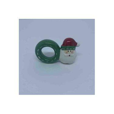Imagem de Anel Porta Guardanapo de Ceramica Papai Noel 9 x 6 x 3,5cm