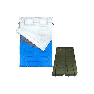 Saco de Dormir Casal Tipo Envelope Nautika + 2 Colchonetes Autoinflável Guepardo
