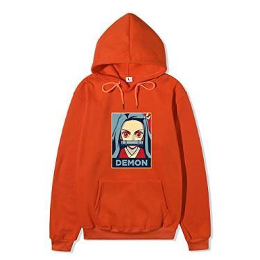 Novo moletom com capuz caçador de demônios Tanjiro Nezuko Cosplay suéter moletom com capuz anime para homens e mulheres, Laranja 1, L