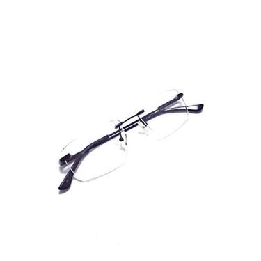 Imagem de Armação Óculos Titanium Metal Sem Aro Com Lentes Sem Grau Cor:Preto