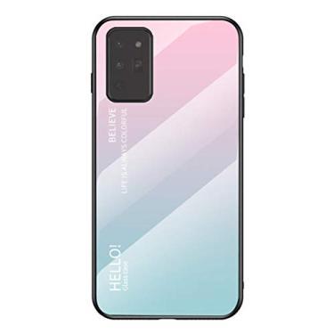 MOONCASE Capa para Galaxy Note 20, TPU ultra fino macio + vidro transparente + padrão de cor gradiente anti-impressão digital resistente a arranhões para Samsung Galaxy Note 20 de 6,5 polegadas - Rosa + Azul