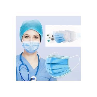 Máscara Cirúrgica Descartável Tripla - Com 100 Unidades