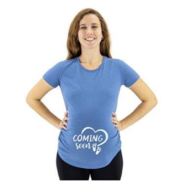 Camiseta de gravidez para mulheres com estampa fofa de bebê Bump Coming Soon, Azul mesclado, XXL