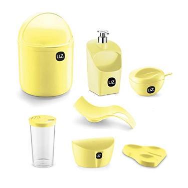 Imagem de Jogo de Utensílios Para Cozinha 7 peças Com Porta Detergente Saleiro e Lixeira de Pia UZ Amarelo