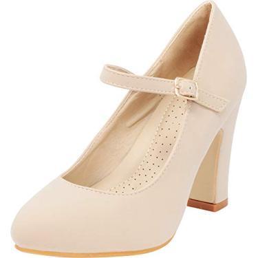 Cambridge Select Sapato feminino Mary Jane grosso salto alto bloco, Taupe Nbpu, 10