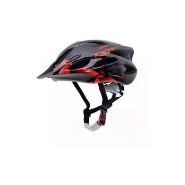 Imagem de Capacete Tsw Raptor Led Preto Vermelho Ciclismo Tam 57-61 Cm