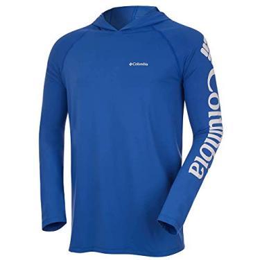 Camiseta Columbia Aurora Manga Longa Com Capuz Masculina - Azul P