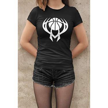 Camiseta Baby Look Fãs de Esportes Basquete E18 Feminino Preto Tamanho:M