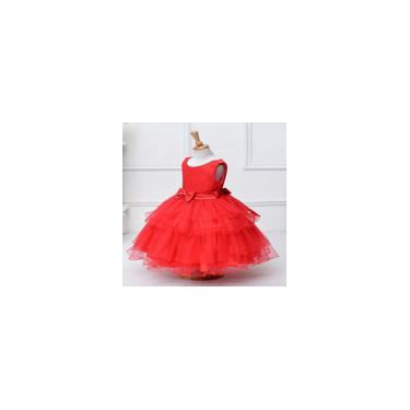 Vestido vestido de mangas curtas L-58 100CM vermelho de crianças