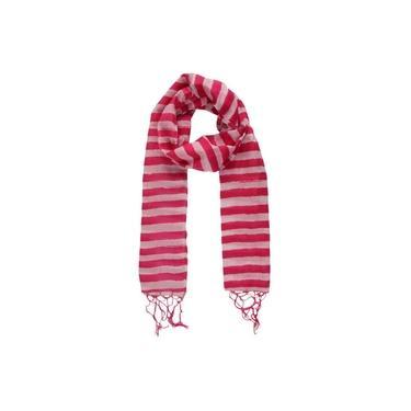 Echarpe Listras Rosa E Pink Com Franja Em Algodão 240X32 Cm