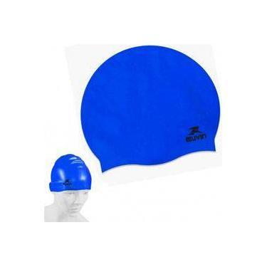 08eff9b0e Touca para Natacao e Hidroginastica em Silicone Slim Azul muvin