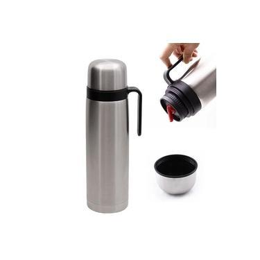Imagem de Garrafa Térmica Inox 1 Litro Inquebrável Com Alça e NF