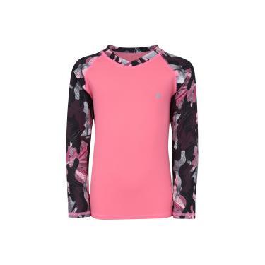 Camiseta Manga Longa com Proteção Solar UV Oxer Feminina - Infantil -  ROSA PRETO Oxer 1818cd002c1b7