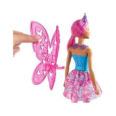 Imagem de Boneca de Fada Barbie Dreamtopia, 12 Polegadas, com Tema de Joia Rosa e Azul, Cabelo Rosa e Asas, Presente para Crianças de 3 a 7 Anos, Multi