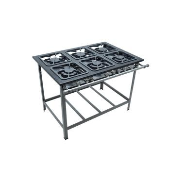 Fogao Industrial 6 Bocas M-15 M/m S2000 30X30 Perfil 6,5Cm Com Porta Panela - Metalmaq