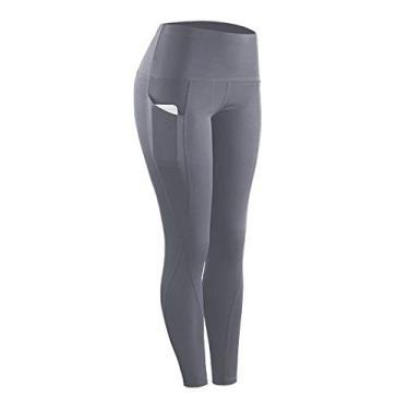 SAFTYBAY Calça legging feminina de cintura alta com controle de barriga, calça de ioga com bolsos, legging capri para mulheres (cinza, GG)