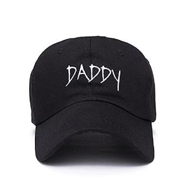 Imagem de Boné New Fashion PAPAI MAMI bordado boné de beisebol do algodão chapéu ajustável hip hop casal tampas mulheres homens amante do pai para lua de mel (DADDY Preto)