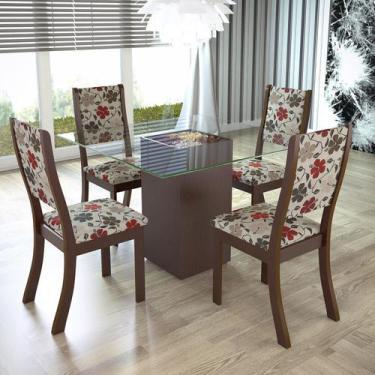 Imagem de Conjunto Para Sala De Jantar Mesa E 4 Cadeiras Espresso Móveis Choco/P