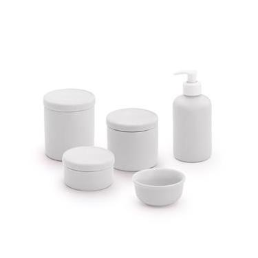 Kit Higiene Bebê Porcelana 5 Peças Branco