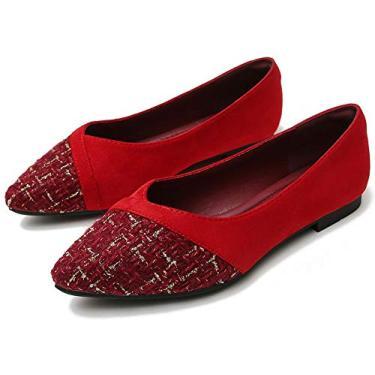 Sapato feminino retrô xadrez LU Sapato plano com laço e nó de balé confortável Sapatos de bico quadrado para usar no trabalho Mocassim sem cadarço, Pointy-red-8113, 9