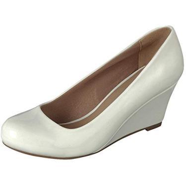 Sapato plataforma feminino com bico redondo e patente Forever Link, Branco, 7