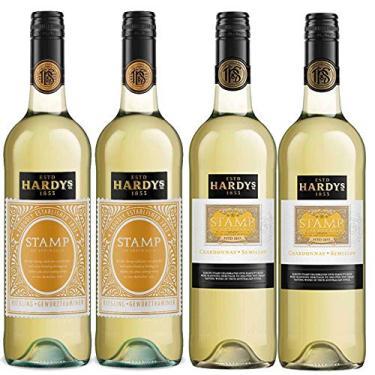 Kit 4x Vinho Branco Australiano Hardy's Stamp Chardonnay-Semillion/Rieseling-Gewurztraminer 2017