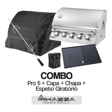 Imagem de Churrasqueira À Gás Embutir Mikazza Pro 5 Combo Capa+Chapa+Espeto Gira