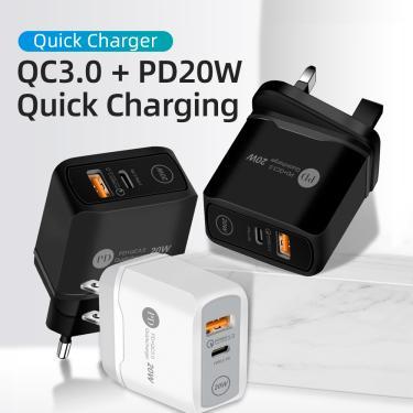 20w carregador para iphone 12 pro max mini carga rápida qc 3.0 pd adaptador USB-C carregamento