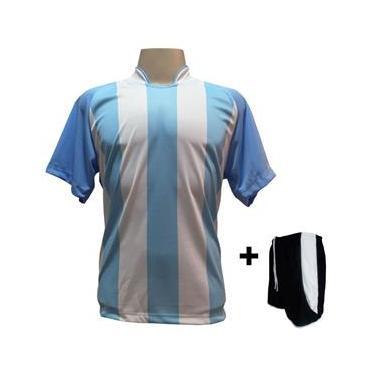 Uniforme Esportivo com 18 Camisas modelo Milan  + 18 Calções modelo Copa Preto/Branco
