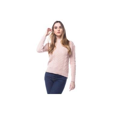 Blusa Logan Tricot Feminina Power Trança Haran Conforto Rosa Nude