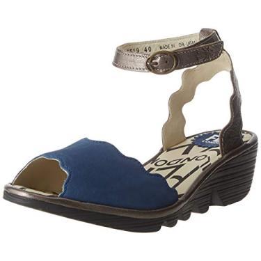 Imagem de FLY London Sandália feminina com tira no tornozelo, Blue Blue Bronze 001, 7.5-8