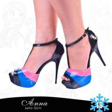 Sandália Pata Preta Listra Azul Rosa Coroa Salto Alto Fino