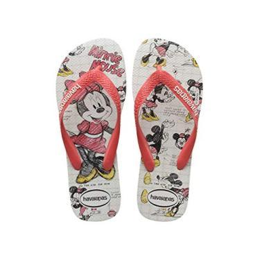 Chinelo Disney Stylish, Havaianas, Criança Unissex, Branco/Coral New, 23/24