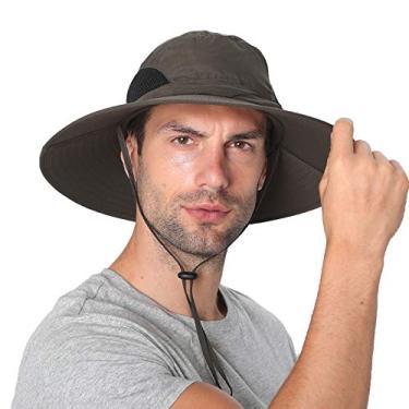 SENWAI Chapéu de sol para homens/mulheres, chapéu balde de proteção solar, impermeável, respirável, aba larga, chapéu de praia para pesca, caminhadas, verde-militar