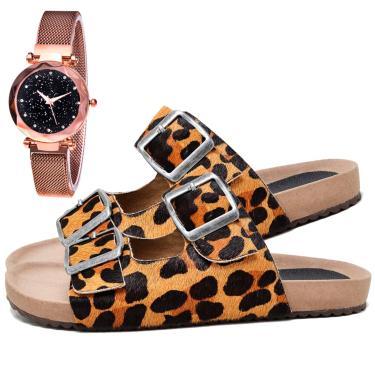 Imagem de Sandália Birken Papete Fashion Estampa Onça Com Relógio Gold Feminina DUBUY 2035EL Marrom  feminino