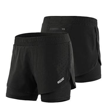 Shorts esportivos, Andoer Shorts de corrida 2 em 1 feminino de secagem rápida Exercício respirável de treino ativo Calções de ciclismo de corrida com forro mais longo