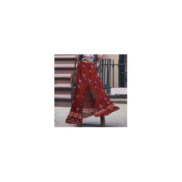 Zanzea feminino verão boêmio plus size estampado floral saia longa praia vestidos longos casuais Vermelho S