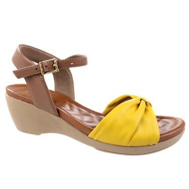 Sandália Anabela Usaflex Solar Marrom/Amarelo  feminino
